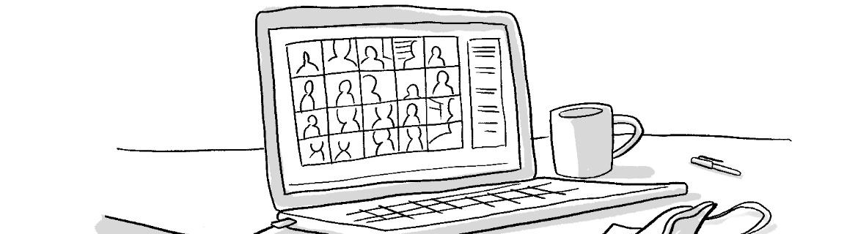 Zeichnung Online Meeting
