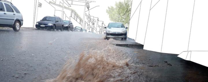 Überflutete Straßen im Stadtgebiet